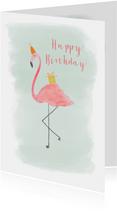 Flamingo met feestmuts verjaardagskaart