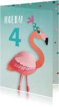 Flamingo verjaardagskaart