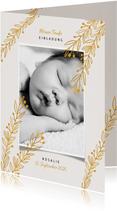 Foto-Einladungskarte zur Taufe botanischer Look