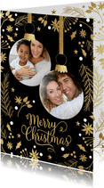 Foto kerstkaart 2 kerstballen fotos