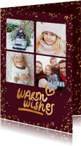 Foto kerstkaart 4 foto's 'Warm wishes'