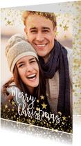 Foto kerstkaart met gouden confetti en typografie