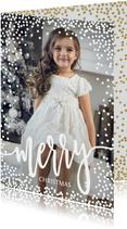 Foto kerstkaart witte dots confetti