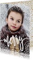 Persoonlijke kerstkaart foto dots sneeuw