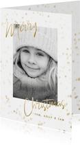 Foto-Weihnachtskarte goldene Sterne Merry Christmas