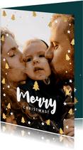 Foto-Weihnachtskarte mit Rahmen aus Sternen und Tannenbäumen