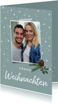 Foto-Weihnachtskarte mit Schneeflocken