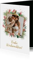 Foto-Weihnachtskarte mit Umrandung aus Zweigen