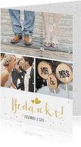 Fotocollage bedankkaartje trouwen met 3 foto's en confetti