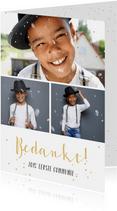 Fotocollage communie bedankkaartje met 3 foto's