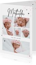 Fotocollage Dankeskarte Geburt kleine Herzchen