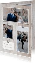 fotocollage hout met foto's en spijkers