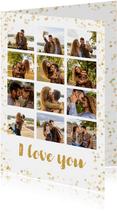 Fotocollage kaart met 12 eigen foto's en gouden confetti