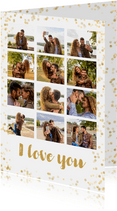 Fotocollage Karte I love you mit 12 Fotos & Konfetti Rahmen