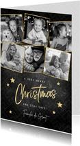Fotocollage kerstkaart merry christmas met gouden sterren