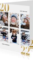Fotocollage kerstkaart met gouden 2022