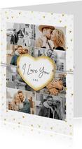 Fotocollage met gouden hartjes label en 8 foto's