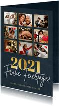 Fotocollage Weihnachtskarte Frohe Feiertage und Jahreszahl