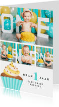 Fotokaart 1 jaar cake smash collage cupcake