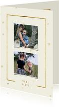 Fotokaart 2 foto's met gouden kader en hartjes