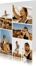 Fotokaart collage met 6 foto's staand