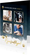 Fotokaart dierenverzorging met foto's en pootjes