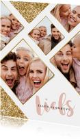 Fotokaart feestdagen goudlook glitter fotocollage