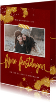 Fotokaart Fijne Feestdagen rood met goud