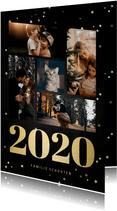 Fotokaart fotocollage met gouden 2020 en sterren
