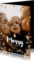Fotokaart grote foto, kerstbomen & Merry Christmas