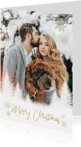 Fotokaart kerst boompjes, sneeuwvlokken en 'Merry Christmas'