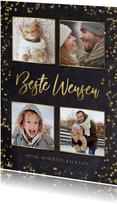 fotokaart kerstkaart krijtbord met goudlook polaroids