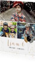 Fotokaart met 3 foto's en feestthema ballonnen en confetti