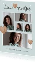Fotokaart met 5 foto's hartjes en lieve groetjes