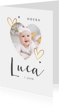 Fotokaart met goud hartjes eenvoudig en stijlvol