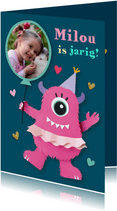 Fotokaart met roze monster