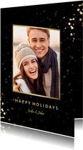 Fotokaart met sterren, foto en gouden confetti