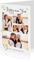Fotokaart save the date goud sterren hartje fotocollag