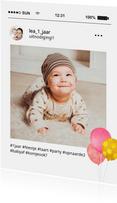 Fotokaart social media uitnodiging kinderfeestje