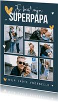 Fotokaart superpapa fotocollage hartjes goud