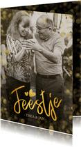 Fotokaart uitnodiging feestje gouden confetti en grote foto