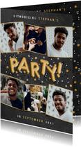 Fotokaart uitnodiging verjaardag met ballonnen en confetti