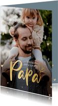 Fotokaart vaderdag met 1 grote foto en gouden hartjes
