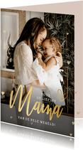 Fotokaart voor moederdag met grote foto en gouden hartjes