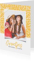 Fotokaart voor vriendin met vrolijke achtergrond