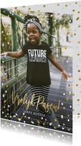 Fotokaart vrolijk Pasen met 1 grote foto en confetti