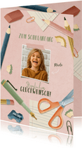 Fotokarte Glückwunsch Schulanfang rosa