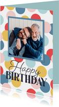 Fotokarte zum Geburtstag bunte Punkte