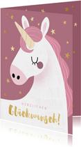 Fröhliche Geburtstagskarte mit Einhorn und Foto