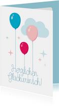 Fröhliche Glückwunschkarte mit Luftballons